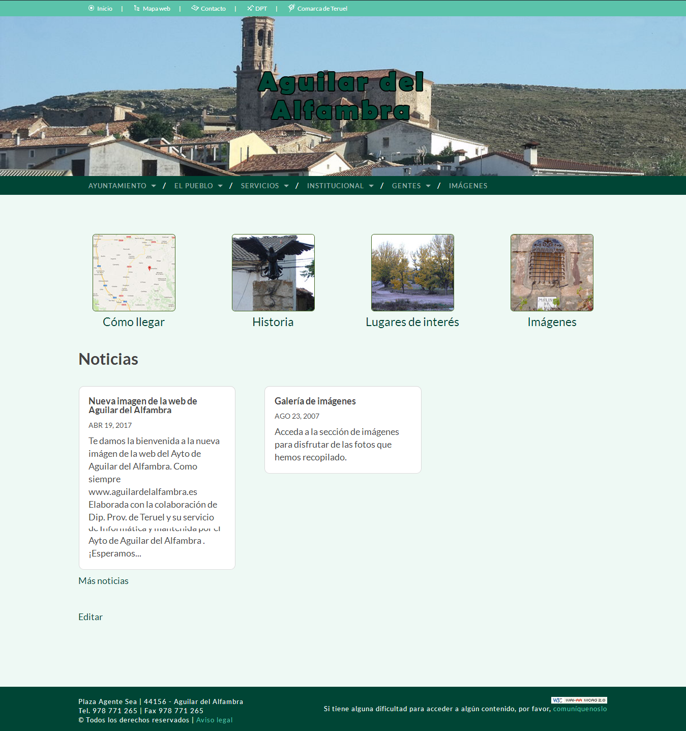 Nueva imagen de la web de Aguilar del Alfambra